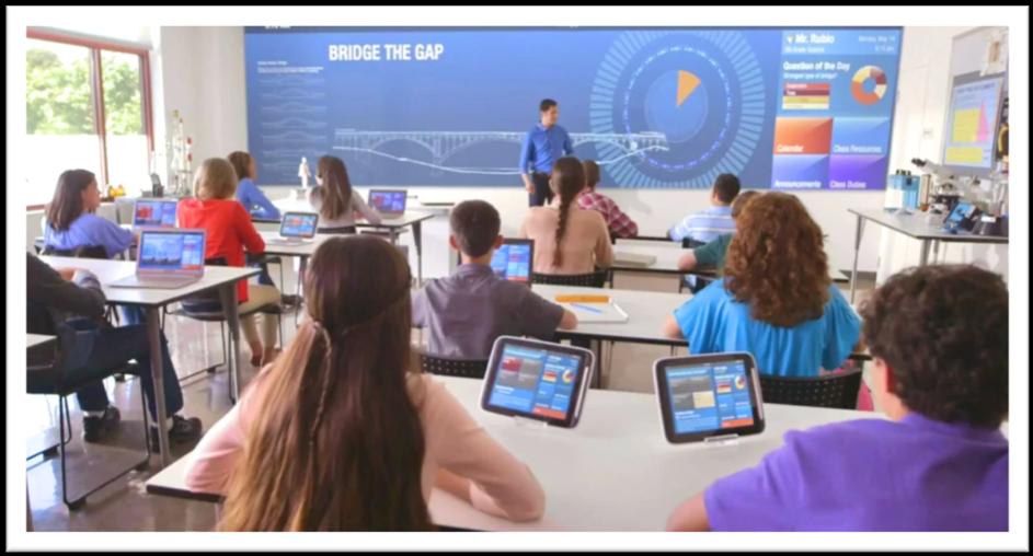 """Image de la salle de classe """"du futur"""""""